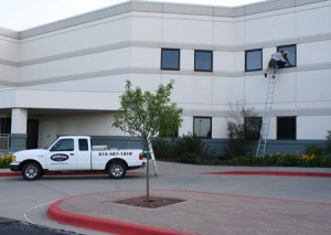 Window cleaning for a two story office building in KC